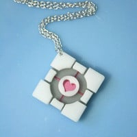 Laser cut acrylic Portal companion cube necklace by SVJewellery