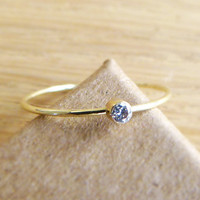 Diamond Engagement Ring - Diamond Gold Ring - 14k Solid Gold