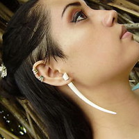 Organic White Bone Fake Gauges Earrings Split expanders