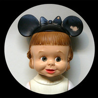 Antique Vintage Rubber Girl Doll Mickey Mouse Club Mouseketeer Jointed Moveable Original