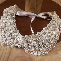 white peter pan collar necklace beads lace pearls bridal wedding christmas gift for her cream white
