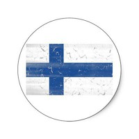 Vintage Finnish flag Sticker from Zazzle.com