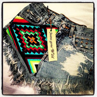 High waist destroyed denim shorts super frayed with tribal motif size Sm/Med/Lg