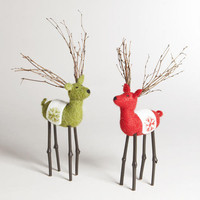 Large Felt Deer, Set of 2