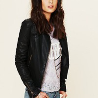 Free People Quilted Sleeve Vegan Leather Jacket