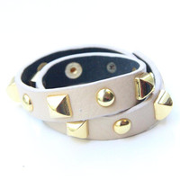 Leather Bracelet wrap with pyramids