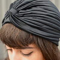 Vintage Deadstock Grunge Gypsy Black Turban