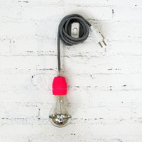 Textile cable lamp with switch and plug - neon pink
