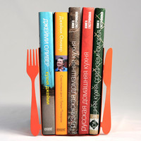 Coral bookends -Knife and Fork- laser cut for precision these bookends will hold your favorite cookbooks