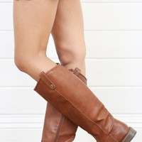 Breckelle&#x27;s Rider18 Rust Button Flap Flat Riding Boots and Shop Boots at MakeMeChic.com