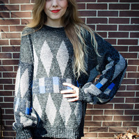 Customizable Vintage Grey Blue Oversized Studded Sweater