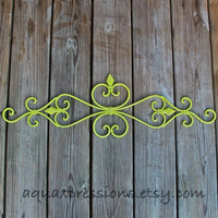 Metal Wall Fixture /Lime Green /Distressed Patio Decor /Painted Bright /Distressed /Outdoor Up Cycled Iron Art