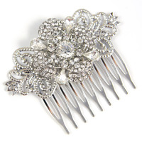 Alina - Wedding Hair Comb, Bridal Accessories, White, Rhinestones, Crystal, Swarovski, Czech crystal, Head Piece
