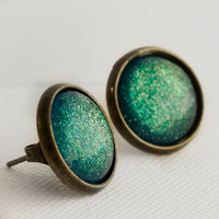 Seafoam Castle Post Earrings in Antique Bronze - Blue, Green, Yellow Glitter Earrings