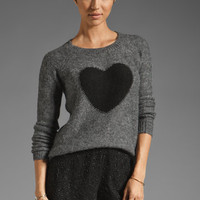 Elizabeth and James Heart Intarsia Pullover in Charcoal/Black from REVOLVEclothing.com