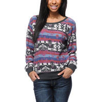 Billabong Girls Thea Printed Fleece Crew Neck Sweatshirt