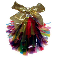 Rainbow Christmas Ornament with removable gold bow