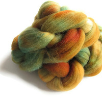 Hand Dyed Wool Roving, Shetland Wool, Orange, Brown, Turquoise