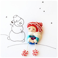 Brooch - Little girl with mittens Made to order