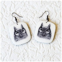 Owl Earrings graphic arts