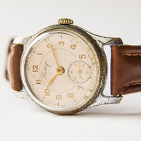 Antique men's wristwatch Pobeda - silver tone wrist watch - caramel leather watch