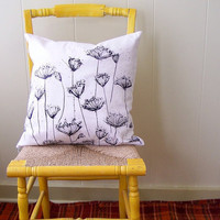 Queen Anne&#x27;s lace hand printed pillow cover by susanshinnick