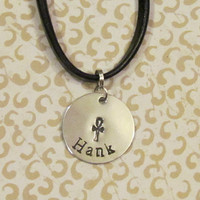 BOYS Necklace - ANHK CROSS -Baseball-Owl - Peace -Necklace - Personalized Name - mens leather necklace