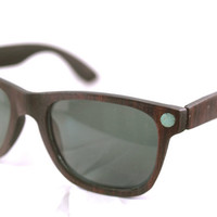 Handcrafted Wooden Faced Sunglasses Wayfarer // Ebony and Turquoise Eyewear