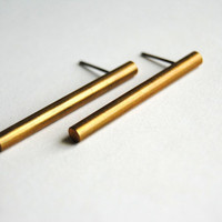 Brass Bar Earrings Free Shipping in the US by sparklefarm on Etsy