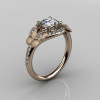 Nature Inspired 18K Rose Gold 1.0 CT White Sapphire Diamond Butterfly and Vine Engagement Ring, Wedding Ring NN117S-18KRGDWS