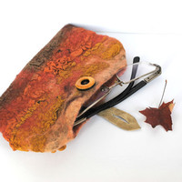 Nuno Felted Eyeglass Case yellow orange brown with Wood button and leather loop