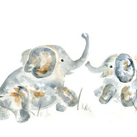 "Elephant painting - Nursery Art Print - gift for new mom - Children's decor - ""Trunk Puffs, Sweet Puffs""  8x10"