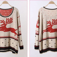 HOT CHRISTMAS SNOWFELK PATTERN LONG SLEEVE CREW NECK JUMPERS WF-3658-BG-F