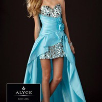 Black Label by Alyce 5432 Turquoise Hi-Lo Dress