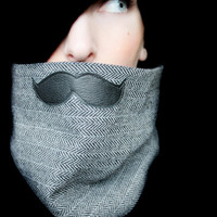 Movember Mustache Clothing - Mustache Scarf in Black and White