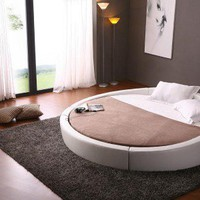 White Contemporary Round Bed - Opulentitems.com