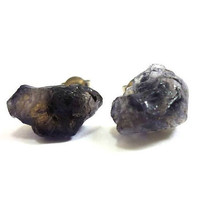 Raw Druzy Dark Violet Iolite Gemstone Studs by AstralEYE on Etsy