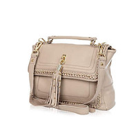 Beige chain detail satchel