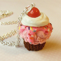 chocolate and strawberry ice cream cupcake necklace