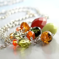 Amber Necklace Green Jade necklace Sterling Silver Burnt Orange Carnelian Semiprecious Natural Stone Necklace
