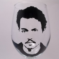 Johnny Depp Wine Goblet, Painted wine glass, painted wine glasses,Captain Jack