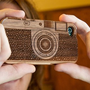 Laser-Engraved Wood iPhone Case Resembling a Camera by onfancy