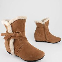 bow side fur trim ankle boot 