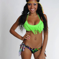 Neon Green Fringe Bikini Top