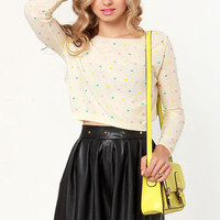 Candy Dots Cream Cropped Sweater