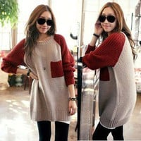 Women&#x27;s Crew neck Knit Top PULLOVER Long Sweater Loose Jumper w/ Pockets S2151