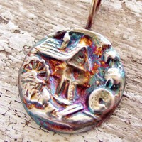 Scenic Fine Silver Pendant Old Fashioned Gristmill or Flour Mill