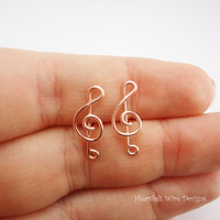 Treble Clef Stud Earrings, Rose Gold