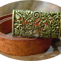 womans leather tan designer belt