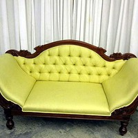 Antique Victorian Sofa High Arms Lemon Yellow Beautiful from countryclassicantiques on Ruby Lane